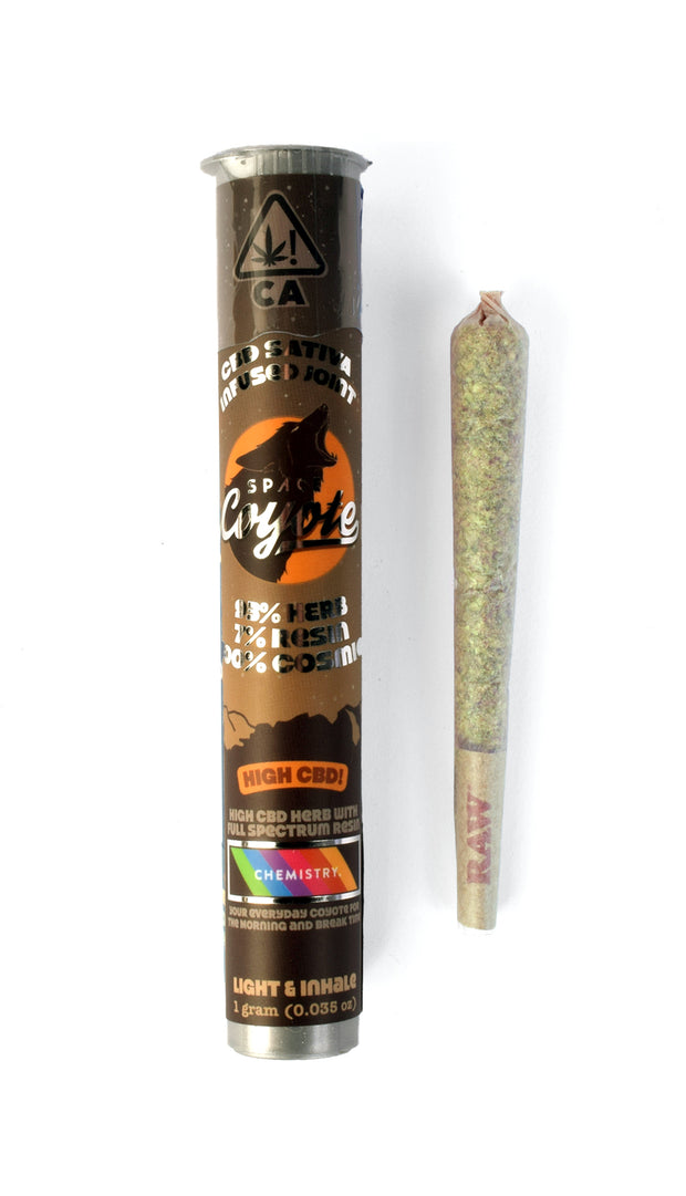 Space Coyote x Chemistry Sativa CBD Infused single 1g Pre-roll 1:1