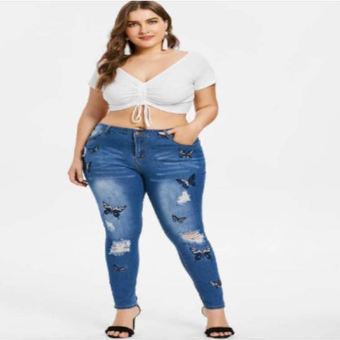 apple shape body, Model in jeans