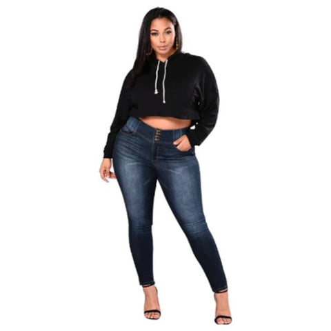 blue plus size jeans on model