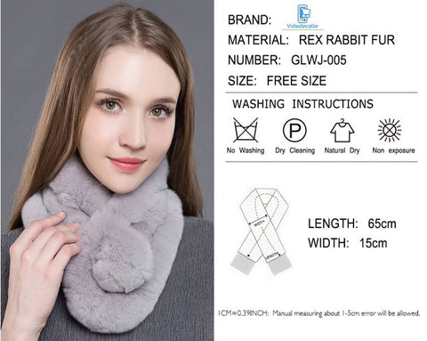 size chart real rabbit fur scarf