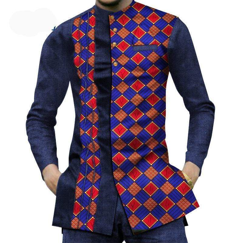 African Stylish Patchwork Print Shirt herre shirt VidaDeCalle