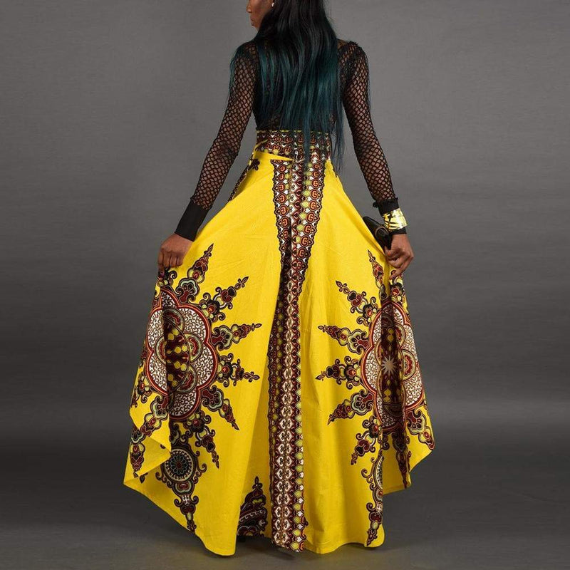 Traditional African Print Long Style Skirt  VidaDeCalle