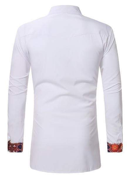 White Dashiki Tribal Ethnic Shirt men shirt VidaDeCalle
