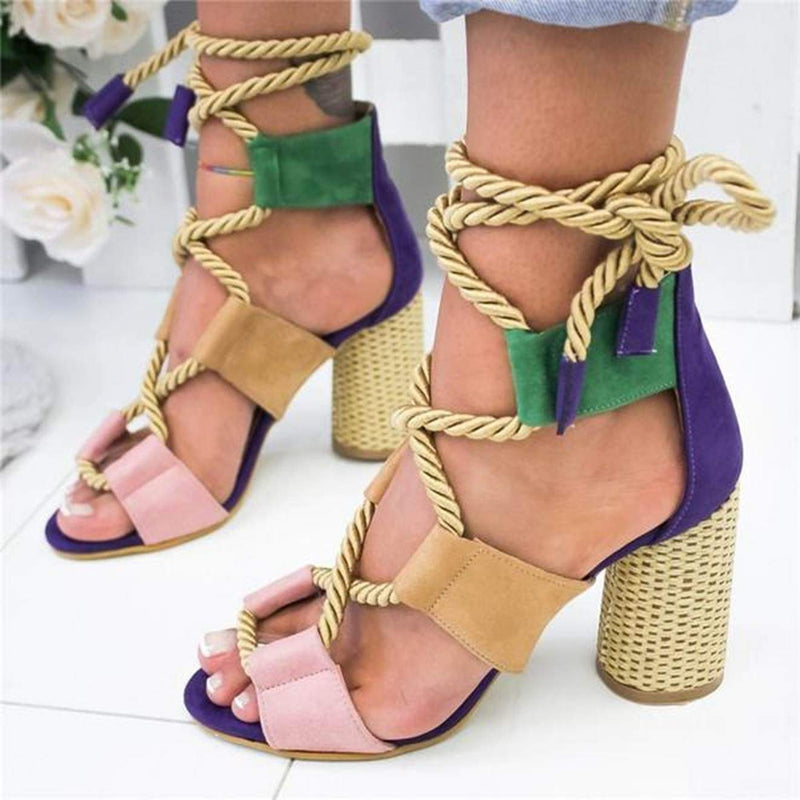 Boho Chic Rope Lace up Summer Sandals with Color Block Design  VidaDeCalle