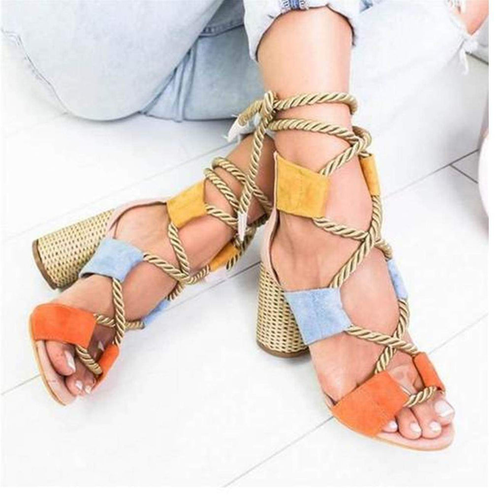Boho Chic Rope Lace up Summer Sandals with Mutli Color Block Design  VidaDeCalle