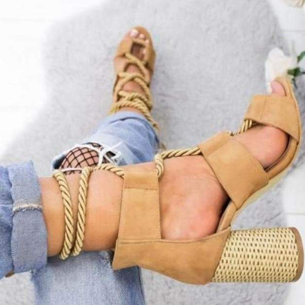 Boho Chic Rope Lace up Sandals in Brown womens shoes VidaDeCalle