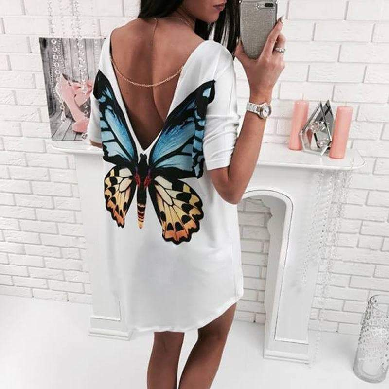 Butterfly Printed O Neck V backless short sleeve mini dress  VidaDeCalle