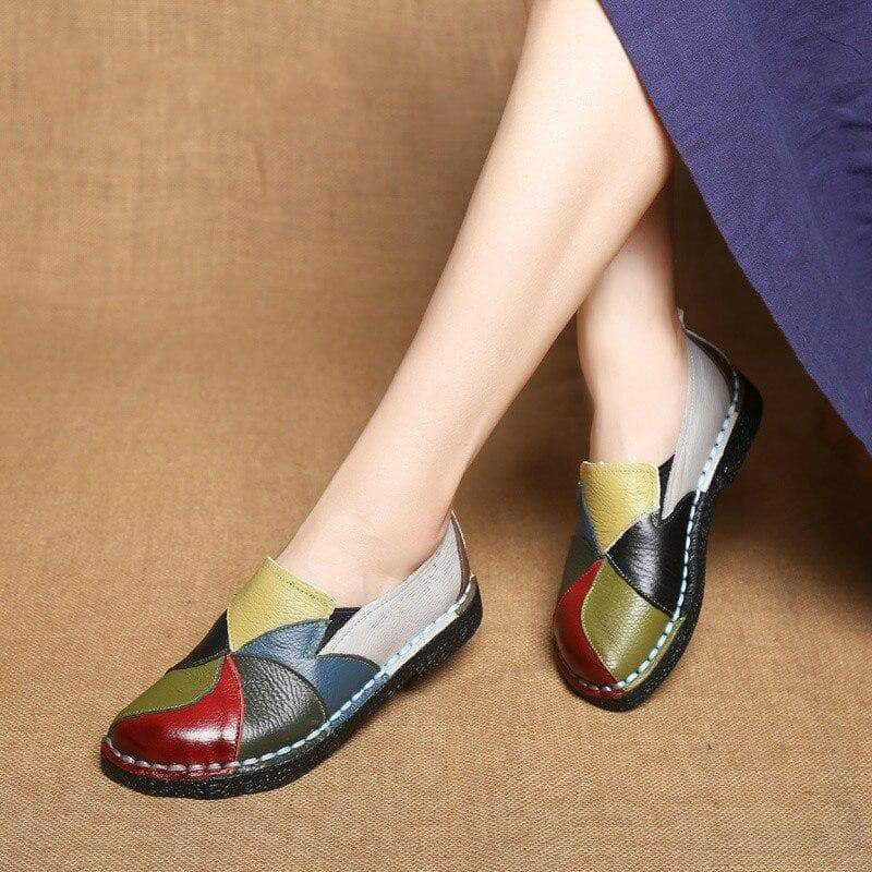 Leather Moccasins Multi Colored Swirling Shoes  VidaDeCalle