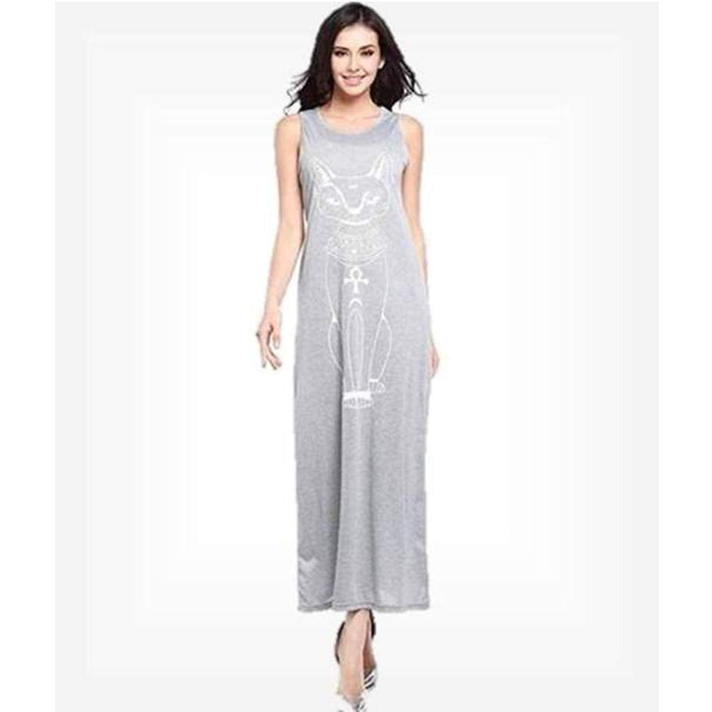Egyptian Grey Phoenix Tie-Front Maxi Dress dresses VidaDeCalle