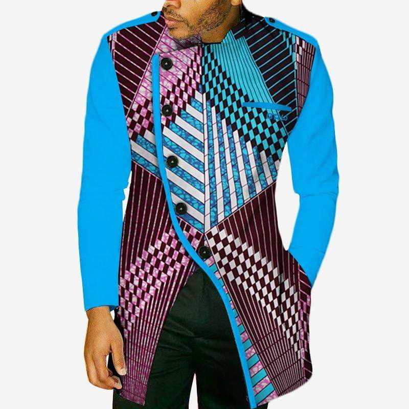 African Wax Print Long Sleeve Shirt mens shirt VidaDeCalle