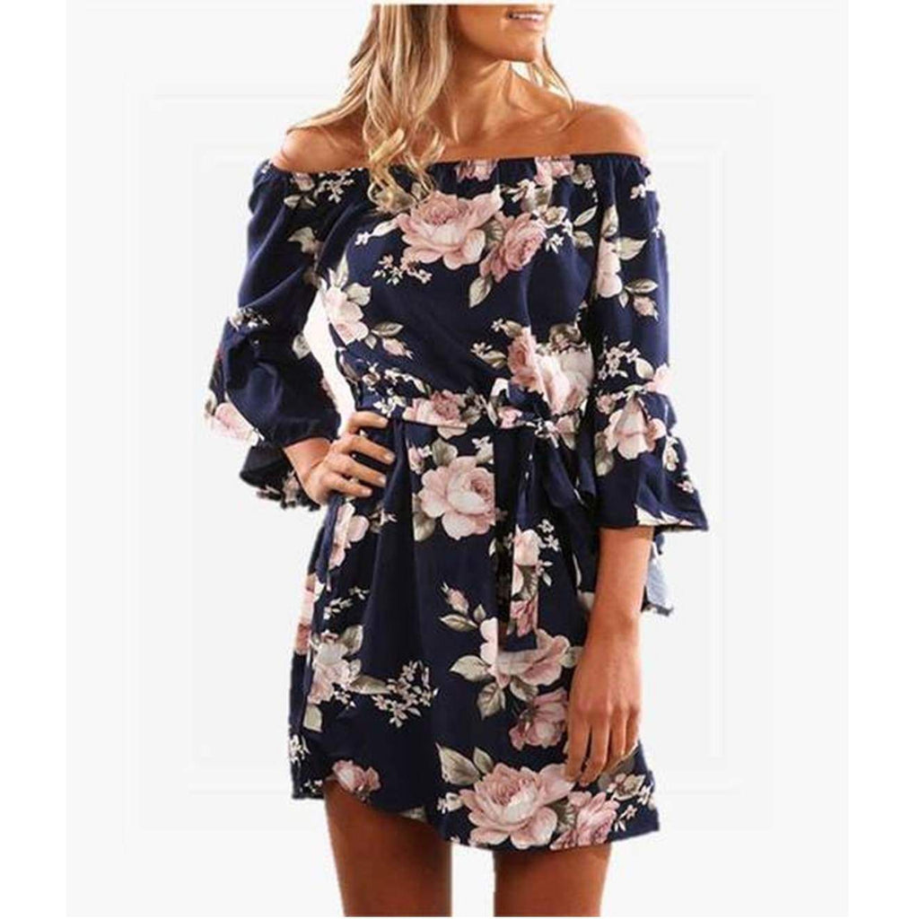 Floral Off Shoulder Ruffle Midi Beach Dress dress VidaDeCalle