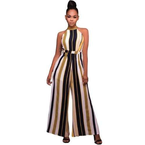 Flared Ostrich Style Jumpsuit Multi Colored womens jumpsuit VidaDeCalle