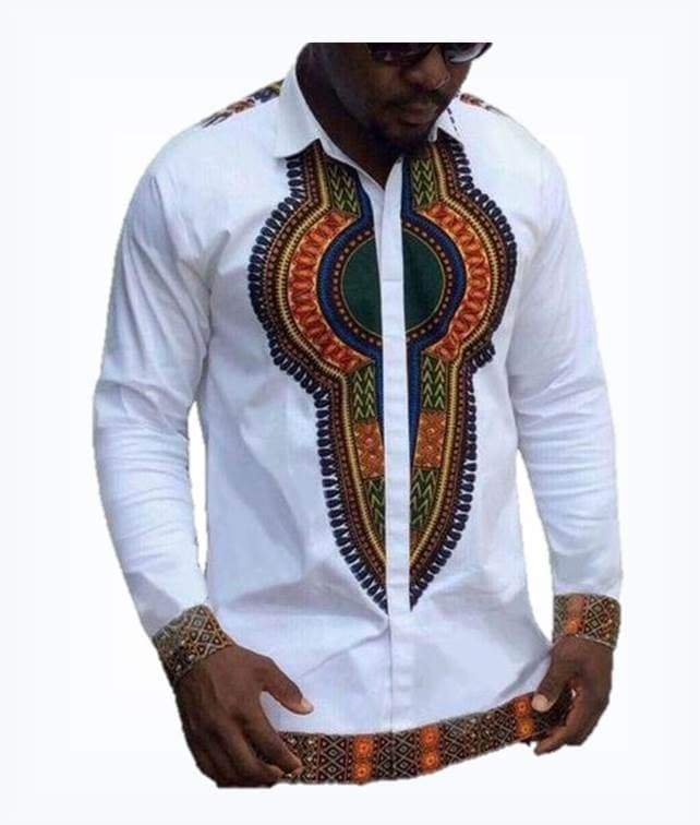Hvid Dashiki Tribal Ethnic Shirt herre-shirt VidaDeCalle