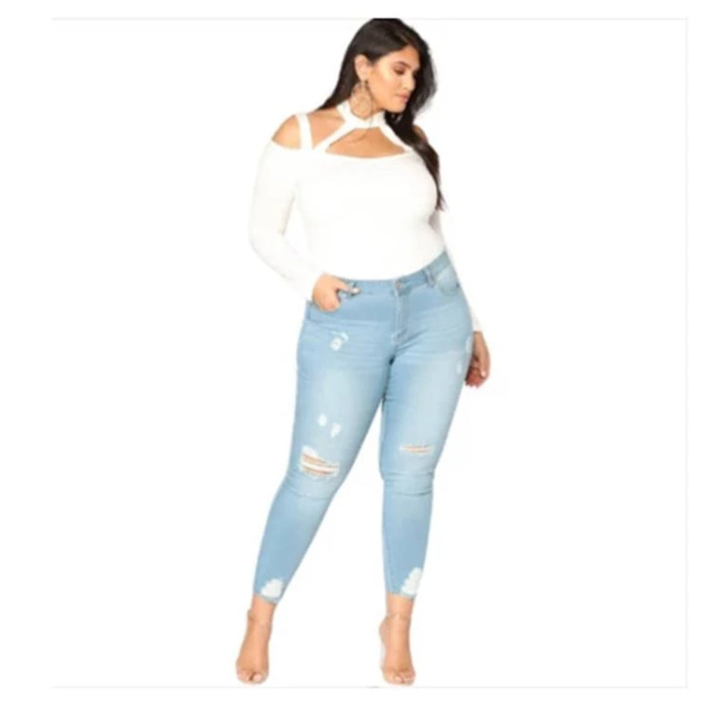 High Waisted Ripped Jeans Plus Size  VidaDeCalle