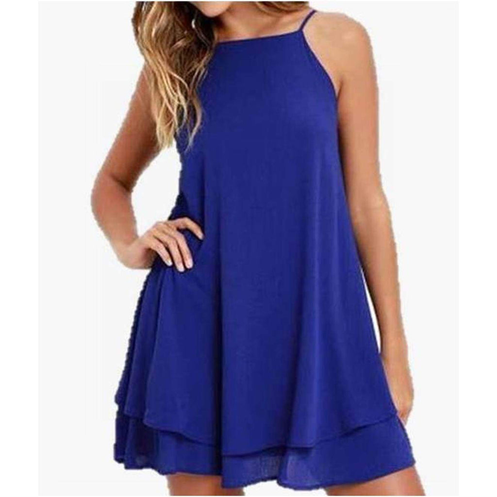 Halter Backless Blue Swing Midi Dress dresses VidaDeCalle
