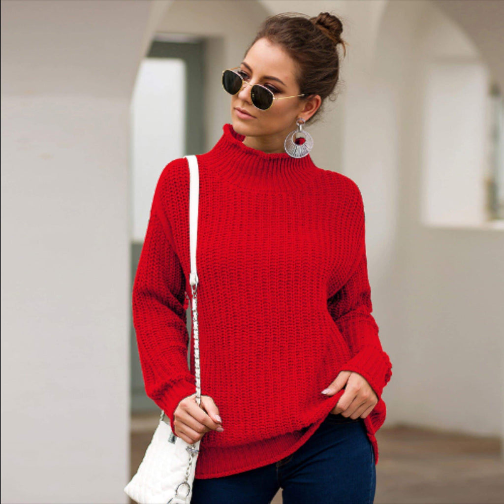 Red Ribbed Knit Turtleneck Sweater women tops VidaDeCalle