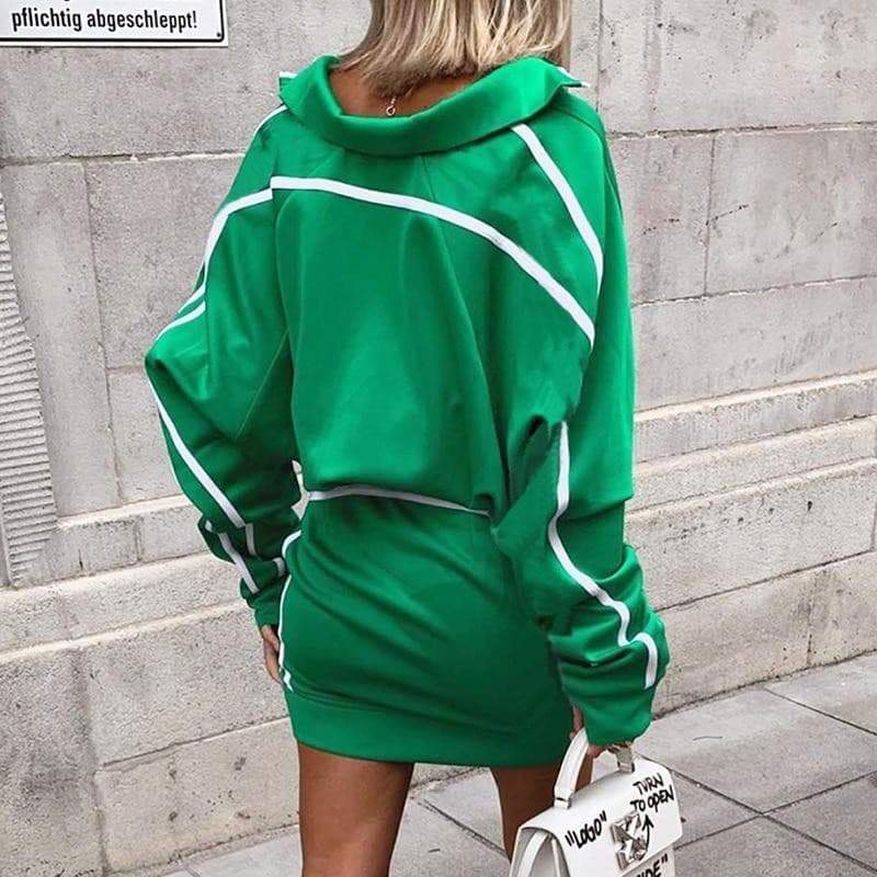 Hot Green Two Piece Street Style Tracksuit  VidaDeCalle