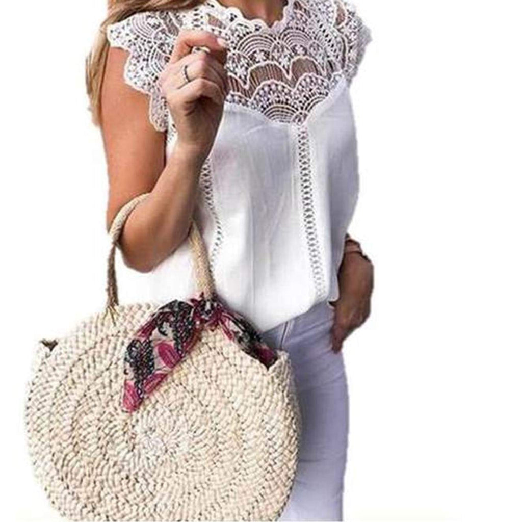 Lace Patchwork Sleeveless Blouse womens blouse VidaDeCalle