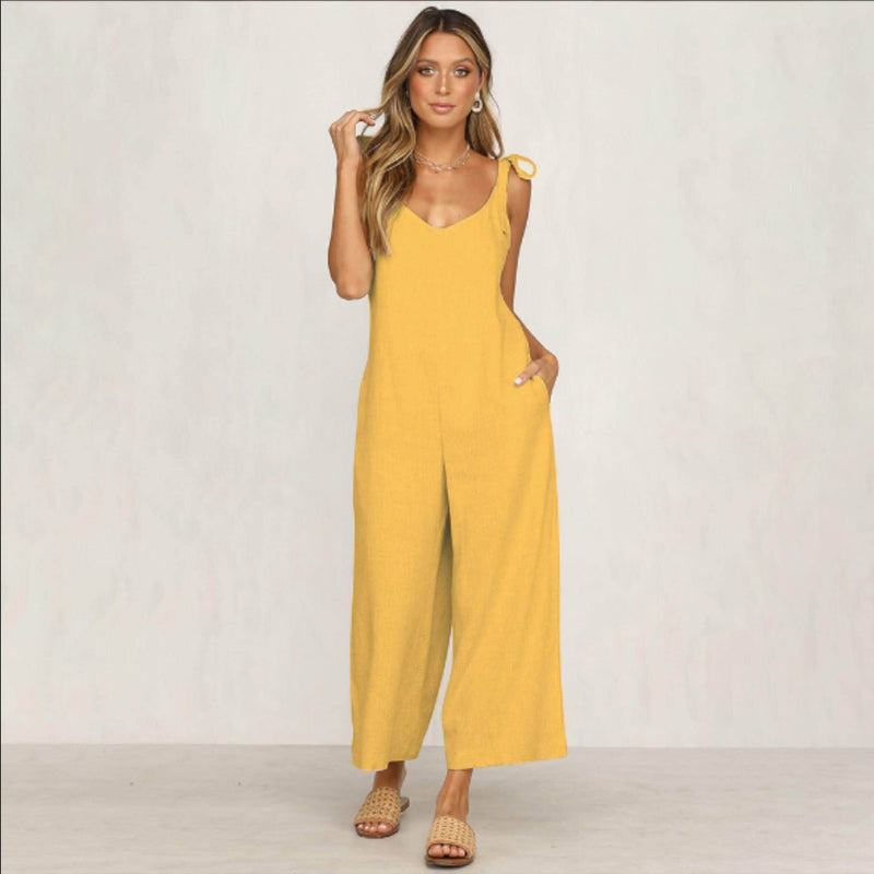 Yellow Low Back Jumpsuit womens jumpsuit VidaDeCalle