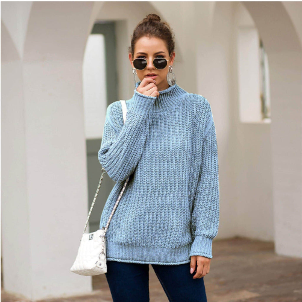 Light Blue Ribbed Knit Turtleneck Sweater women tops VidaDeCalle