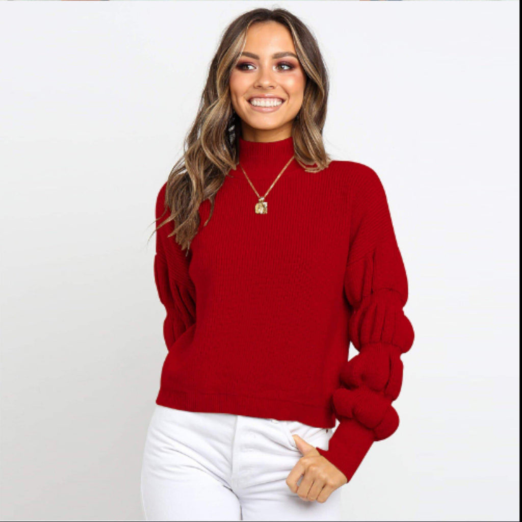 Red Chunky Knit Turtleneck Sweater  VidaDeCalle