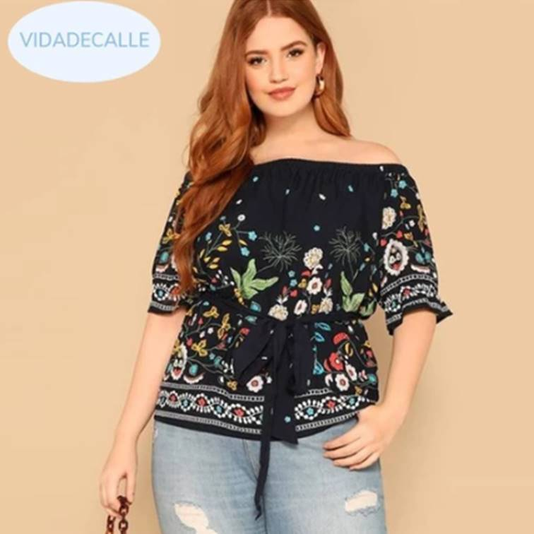 Off Shoulder Botanical Belted Floral Blouse  VidaDeCalle