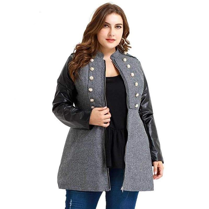 Stylish Plus Size Pu Leather Sleeve coat with button front coat VidaDeCalle