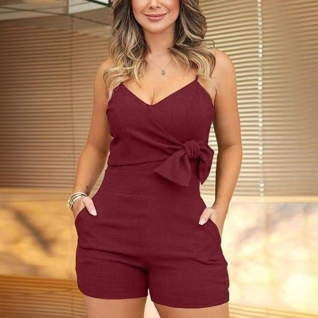 V-Neck Spaghetti Strap playsuit  VidaDeCalle