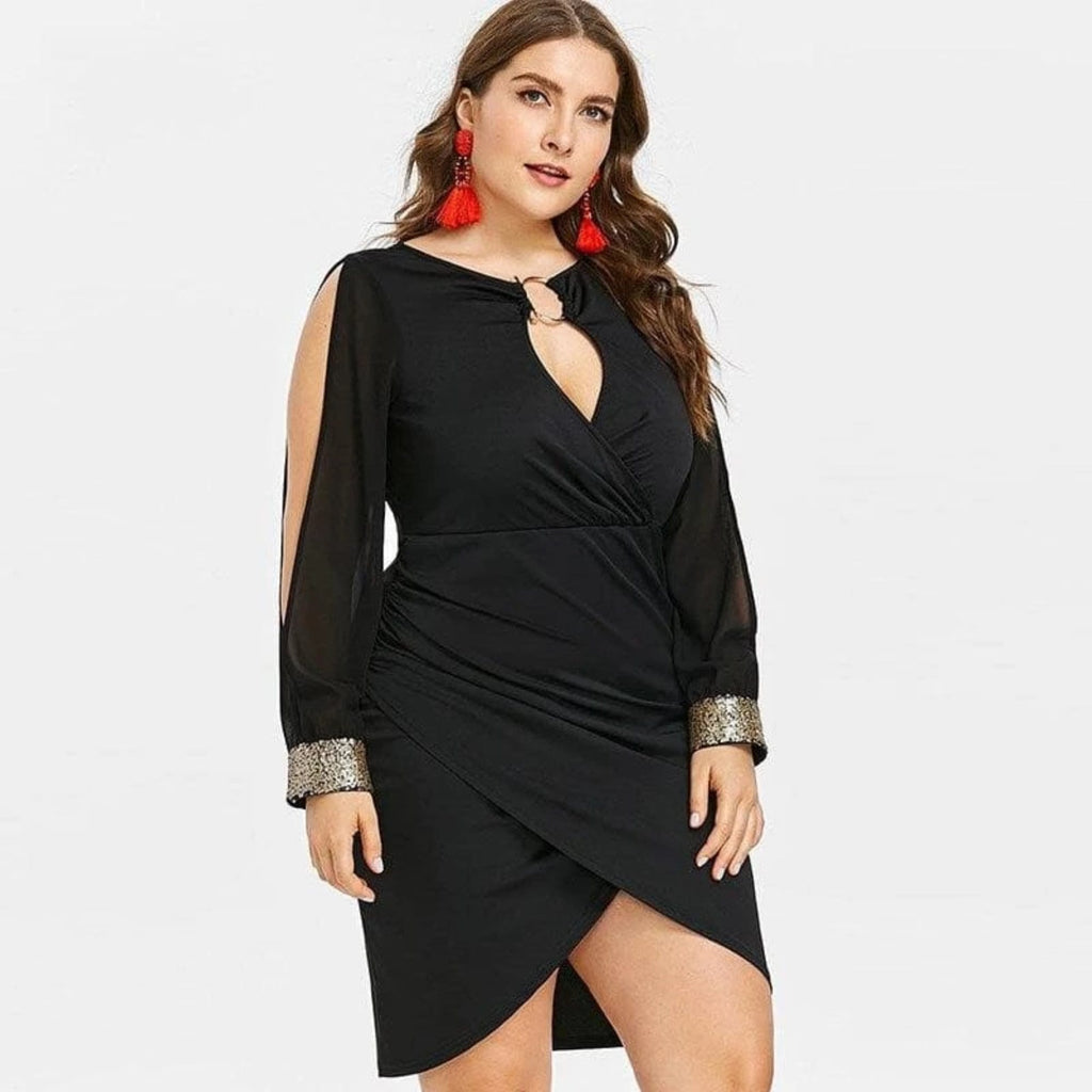 Stylish above knee black dress plus sizes  VidaDeCalle