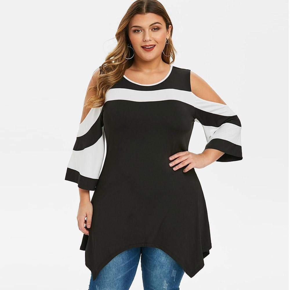 Cold Shoulder Tunic Three Quarter Casual Top.  VidaDeCalle
