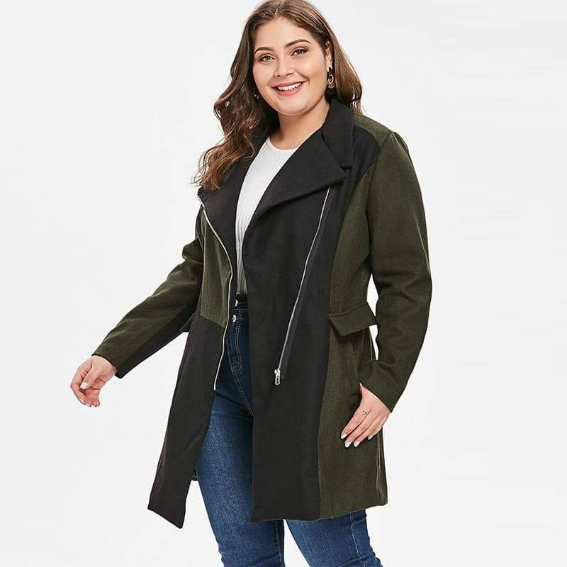 Two color Patchwork Plus Size Coat coat VidaDeCalle