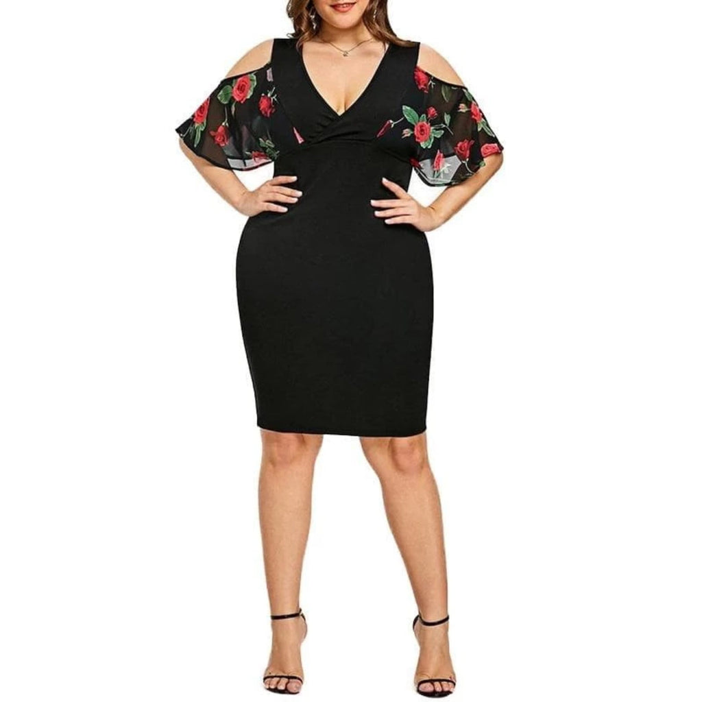 Off Shoulder Lace Rose Print Plus size Bodycon Dress  VidaDeCalle