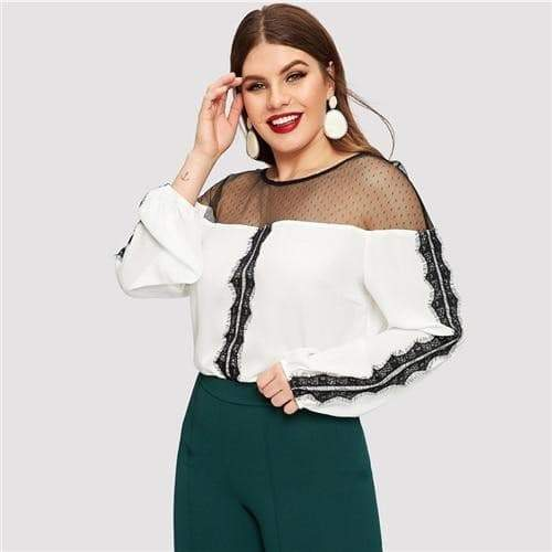 Plus Size, White Mesh Long Sleeve Top  VidaDeCalle