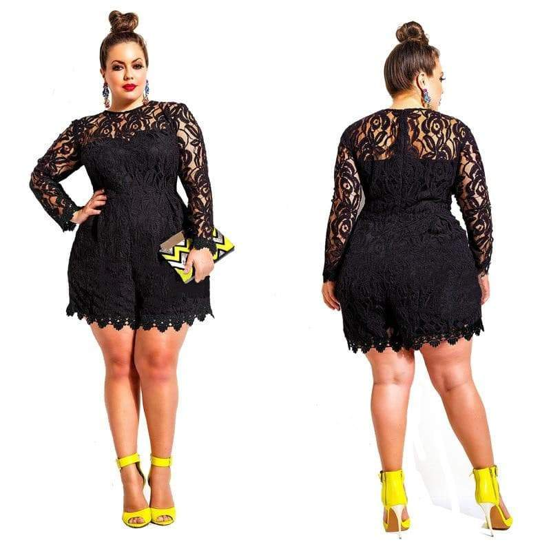 Solid Color Hollow Out Long Sleeve Lace Rompers Plus Size jumpsuit VidaDeCalle