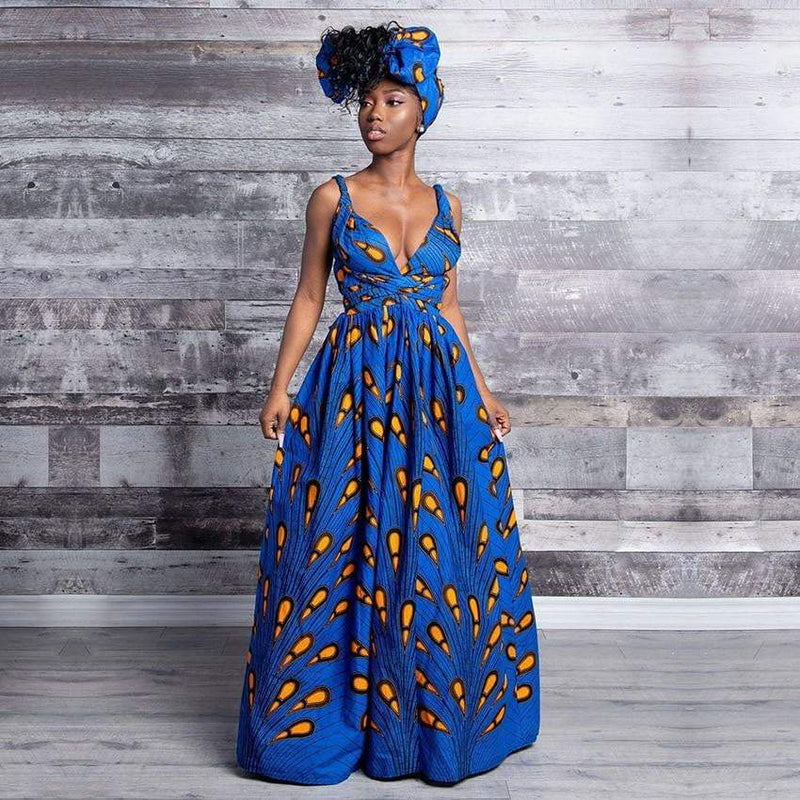 African Style long Printed Dress, Plus Sizes  VidaDeCalle