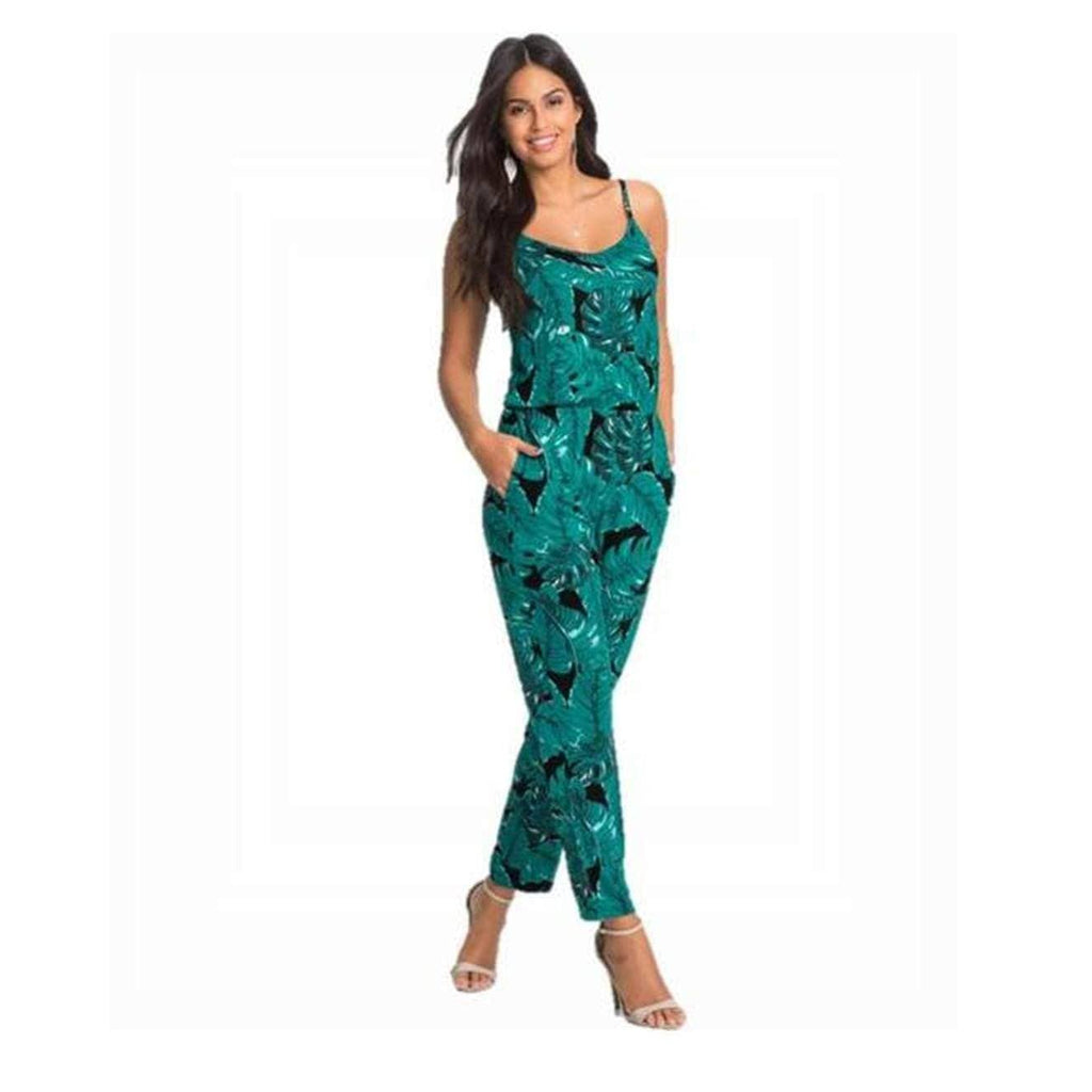 Tropical Wind Plant Printed Summer Playsuit womens jumpsuit VidaDeCalle