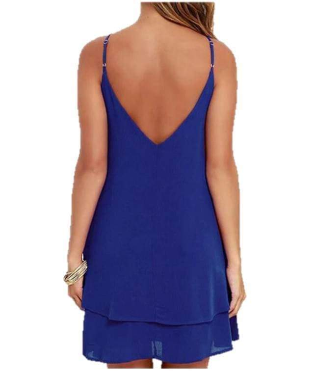 Halter Backless Blue Swing Midi Dress robes VidaDeCalle