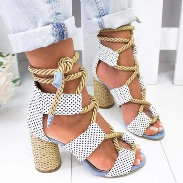 Boho Chic Rope Lace up Sandals in white  VidaDeCalle