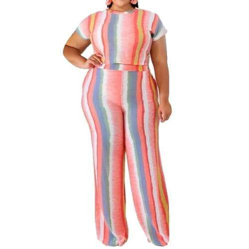 Pink Two Piece Set Striped Playsuit Plus Sizes womens jumpsuit VidaDeCalle