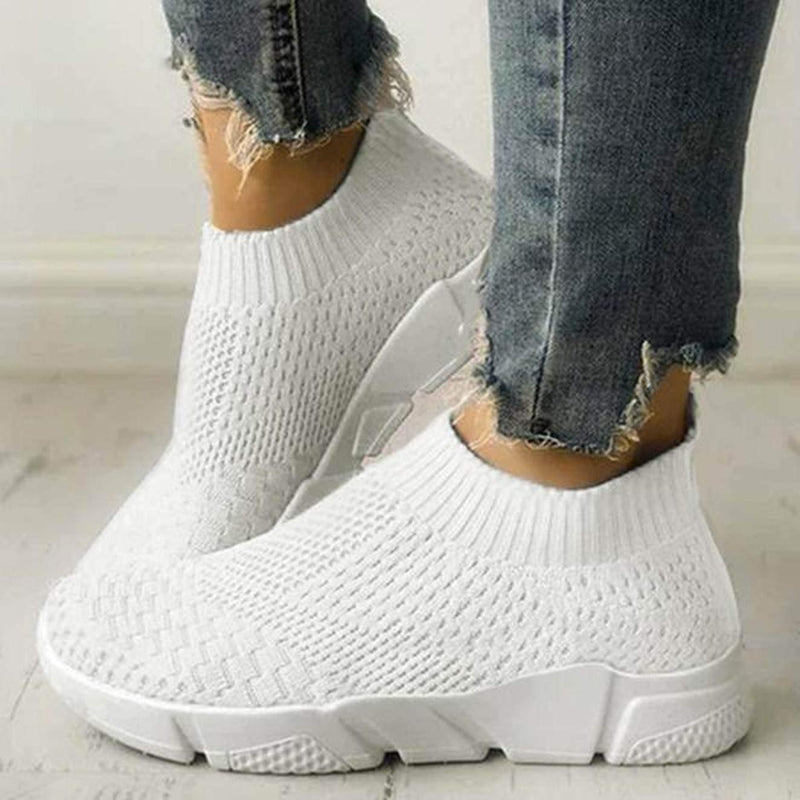 White Women's Slip On Breathable Sneakers womens shoes VidaDeCalle