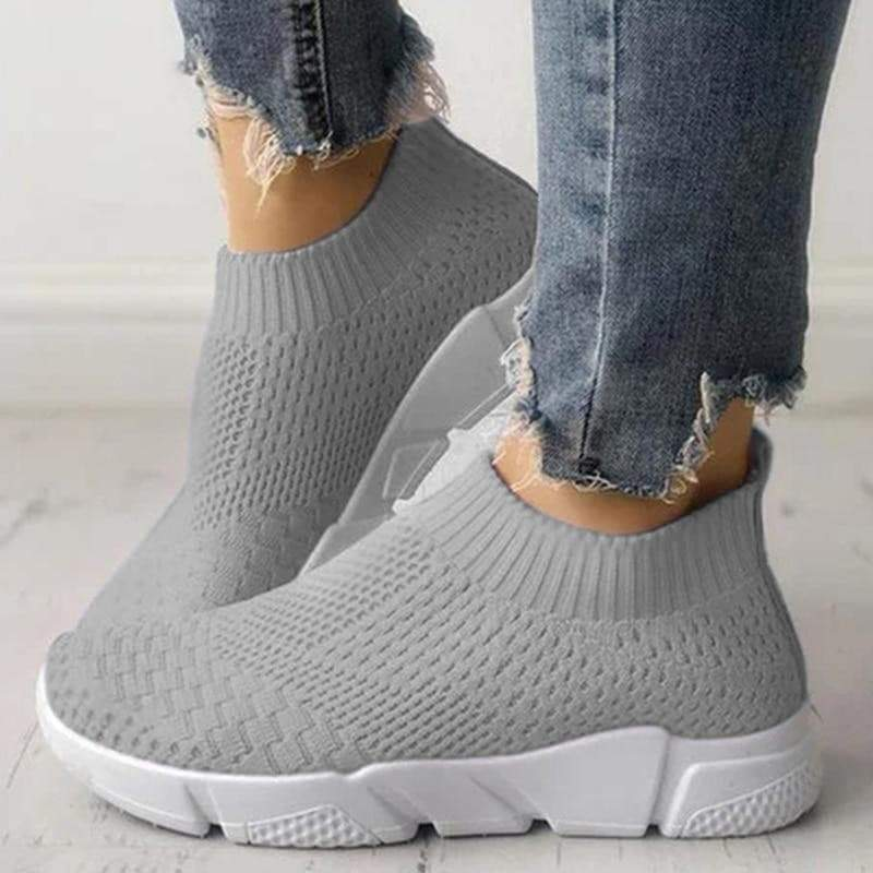 Grey Women's Slip On Breathable Sneakers  VidaDeCalle