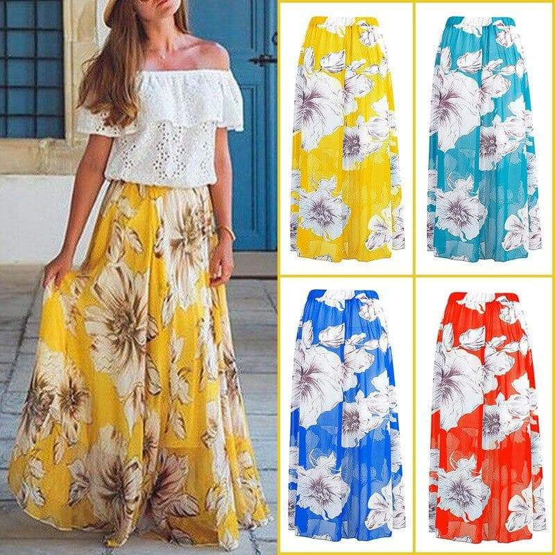 Plus Size High Waist Floral Print Long Skirt  VidaDeCalle