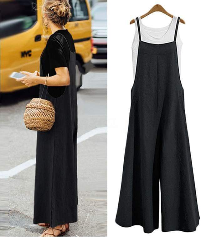 Black Strappy Solid Comfy fit Jumpsuits womens jumpsuit VidaDeCalle