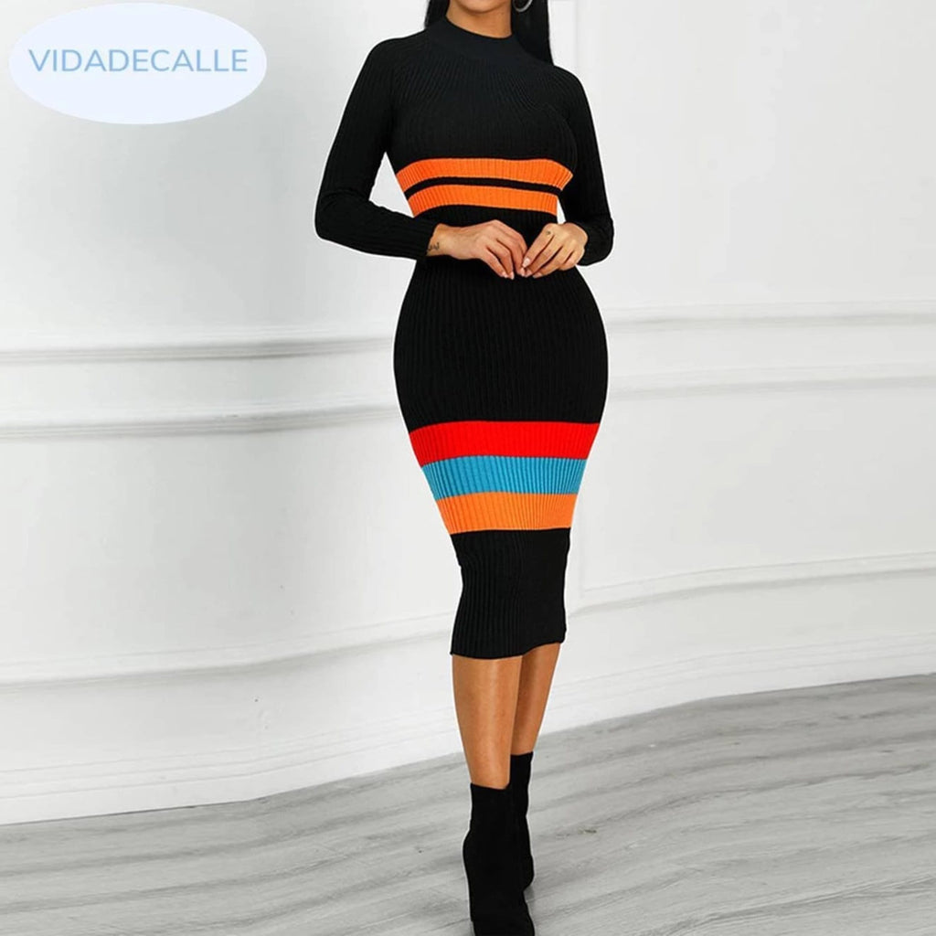 Sexy Colorful Striped Long Sleeve Sweater Dress womens dress VidaDeCalle