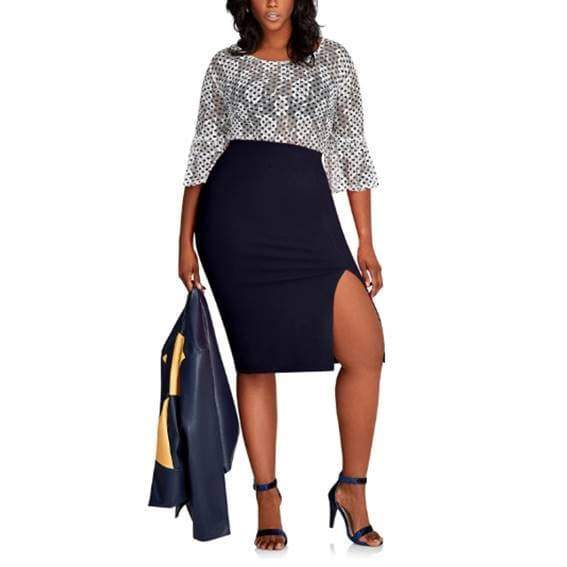Blue, Plus Size, High Waist Skirts  VidaDeCalle