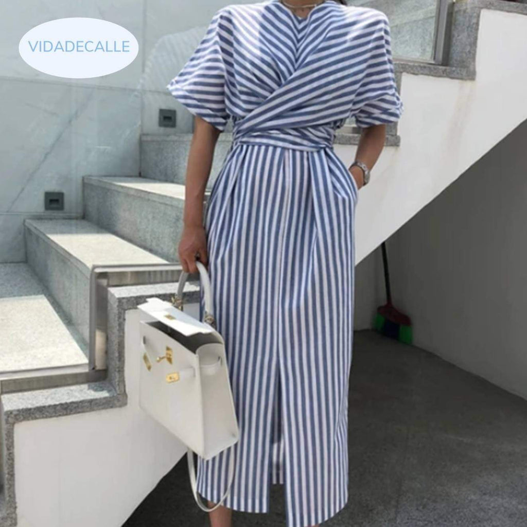 Soft Cotton Blue Striped Bandage Wrap Long Dress  VidaDeCalle