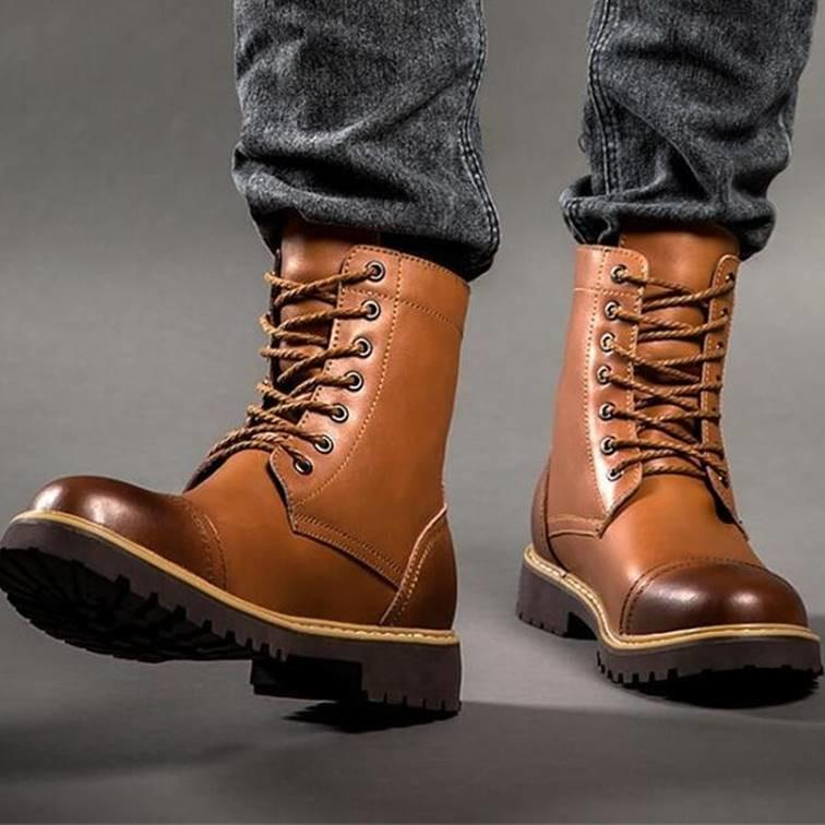 Men's Motorcycle Boots Genuine Leather men's shoes VidaDeCalle