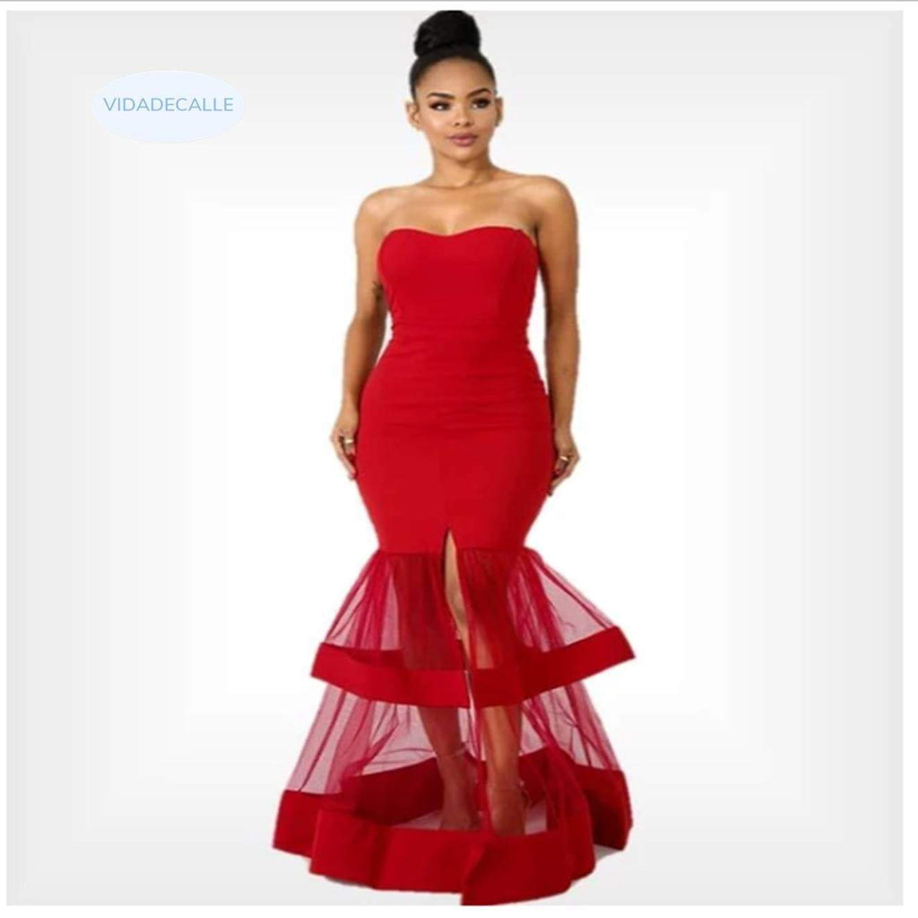 Red Off Shoulder Mesh Binding Frill Maxi Dress women dress VidaDeCalle