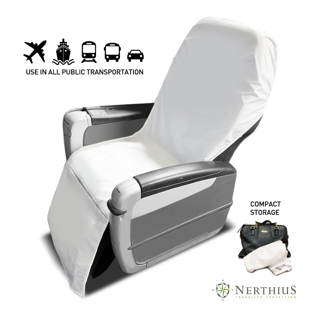 Nerthius Travel Seat Barrier for use in plane, train, bus, rideshare car, ferry seats