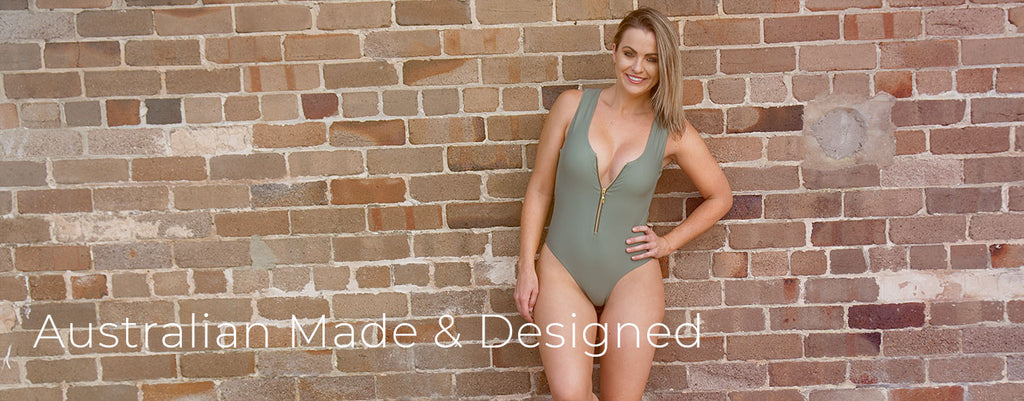 Olive Manda sexy once piece swimsuit with adjustable zipper front from Watermark Swimwear
